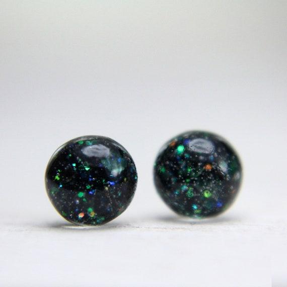 tiny globe sterling post earrings in dark forest green 5mm - christmas earrings