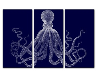 Retro Octopus Triptych Canvas Giclee - Midnight Blue and White