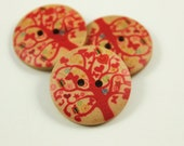 Wood Buttons - Nature Wood Big Red Gift Tree Pattern Buttons, 1 inch. 6 in a set