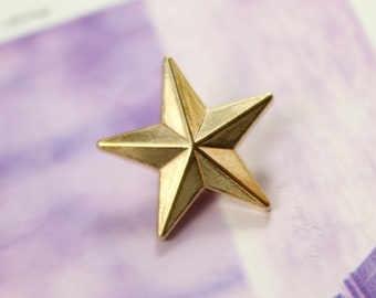 Metal Buttons - Star Metal Buttons , Gold Color , Shank , 0.71 inch , 10 pcs