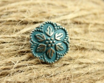 Metal Buttons - Peperomia Leafs Metal Buttons , Gunmetal Darkturquoise Color , Shank , 0.67 inch , 10 pcs