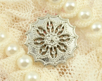 Metal Buttons - Flower Filigree Metal Buttons , Shiny Silver Color , Shank , 0.71 inch , 10 pcs