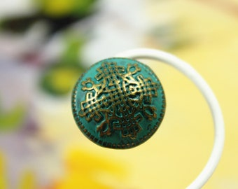 Metal Buttons - Flower Lattice Metal Buttons , Brass Cyan Color , Domed , Shank , 0.55 inch , 10 pcs