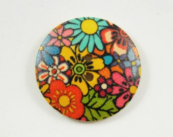 Flower Wooden Buttons -  Luxuriant Summer Flower Bloomings Picture Natural Wood Buttons 1.18 inch. 6 in a set