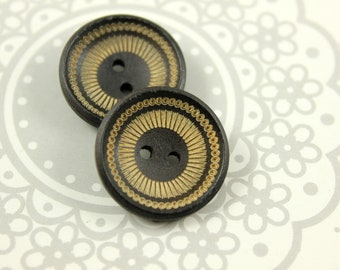 Wooden Buttons - Japanese Style Deep Concave Wood buttons with Khaki Mandala Wheel Pattern. 0.91 inch, 10 pcs
