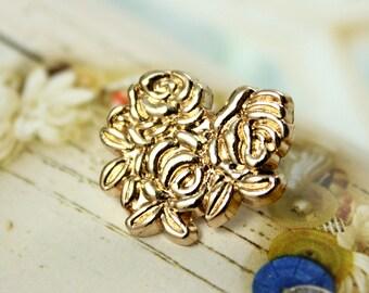 Metal Buttons - Bouquet Metal Buttons , Gold Color , Shank , 0.71 inch , 6 pcs