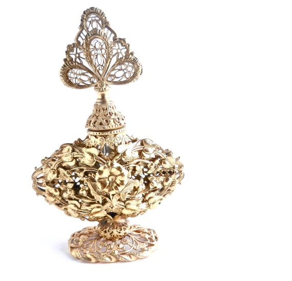 Vintage Metal Perfume Bottle - Gold Tone & Glass Hollywood Regency Flower Container / Ornate Filigree