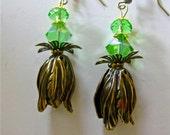 Antique Brass Tulip Peridot Earrings  (E448)