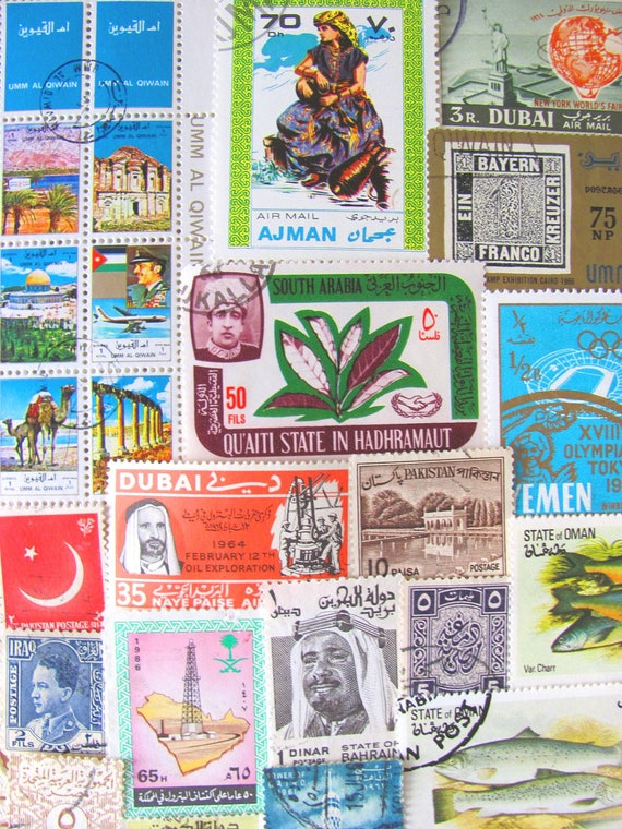 Peace In the Middle East 50 Vintage Postage Stamps Arab Spring Arabic Muslim Islamic Arabian Persian Worldwide