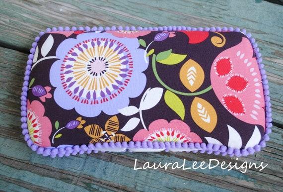 Purple Flowers and Mini Pom Trim, Travel Baby Wipe Case, Diaper Wipe Case, Wipe Clutch, Wipe Holder, Baby Shower Gift, Personalized Case