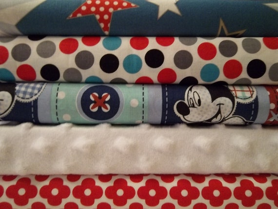Mickey Rag Quilt Kit, with Minky,  Fun Fabrics, Easy to Make, Personalized
