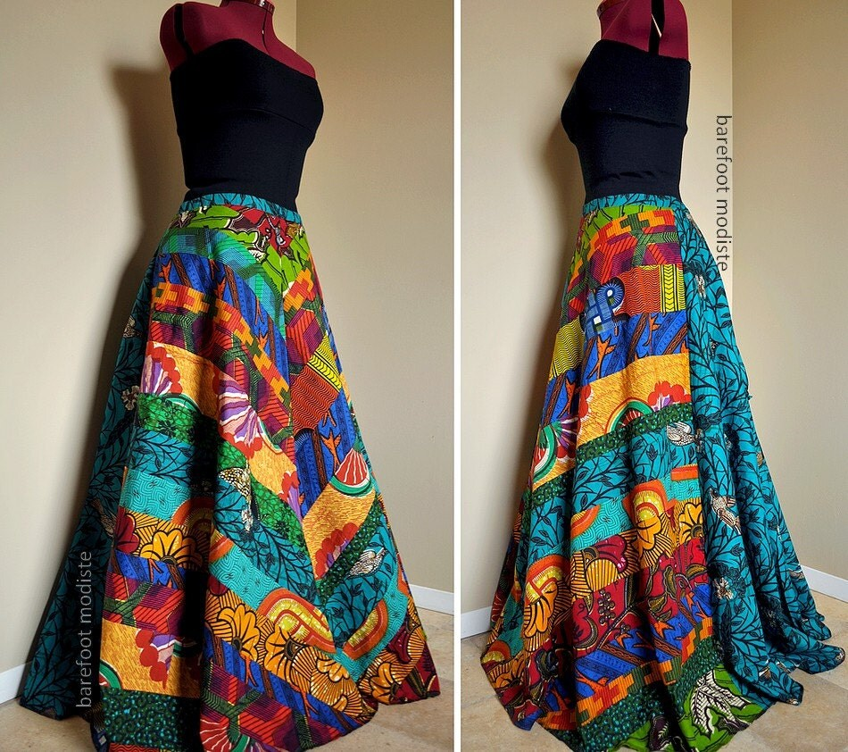 Carefree Muse Long Bright African Patchwork Skirt Ooak