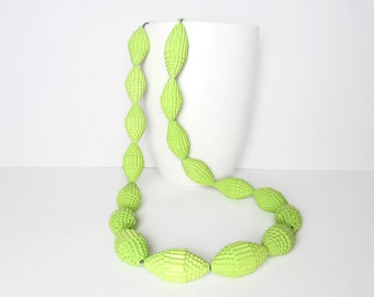 spring green: Statement Necklace FILA with Beads of Corrugated Cardboard