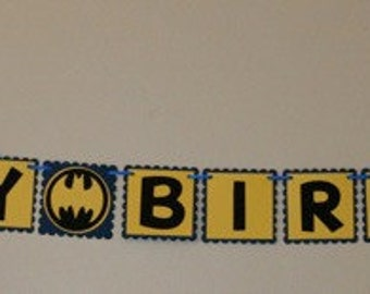 Small Batman Happy Birthday Banner blue and yellow