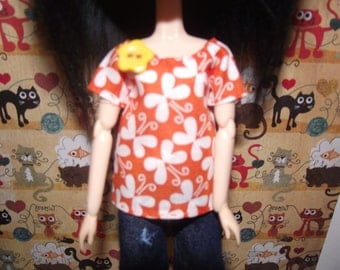Orange butterfly with yellow flower button shirt t-shirt for Pullip