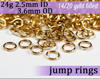 24g 2.5mm ID 3.6mm OD gold filled jump rings 24g2.50 goldfill jumprings 14k goldfilled jewelry supplies findings