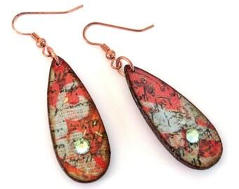 Decoupaged Earrings Teardrop Dangle Summer Earrings Swarovski Crystal Embellished Tomato Red Pale Aqua Summer Jewelry Gifts for Her