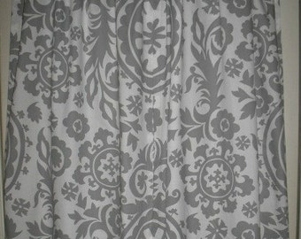 Two Curtain Panels 25 x 63 Premier Prints Grey Suzani