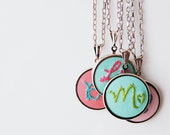 Personalized Fabric Initial Necklace. Stitched Initial and Heart Pendant.  Hand Embroidery by Merriweather Council
