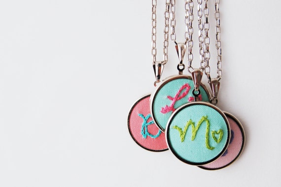 Personalized Fabric Initial Necklace. Stitched Initial and Heart Pendant. Embroidered by Merriweather Council on etsy