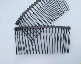 Hair combs--50pcs Black Metal Hair Combs (20 teeth) 76x38mm