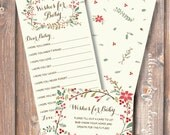 Winter Baby Shower Game Christmas Baby Wishes Watercolor Winter Foliage Printable Wishes for Baby Game Baby Girl Baby Boy - INSTANT DOWNLOAD