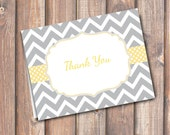 Gray and Yellow Chevron Folded Thank You Note - Fits A2 size envelope - INSTANT DOWNLOAD