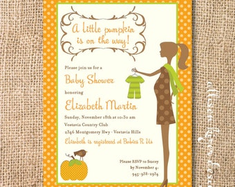 Pumpkin Baby Shower Invitation Fall Baby Shower Invitation Baby Boy Chic Polka Dot Pumpkin Mom-to-Be Autumn Printable Invite Gender Neutral