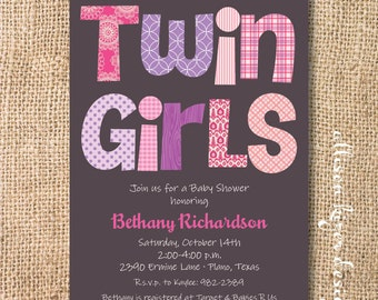 Pink and Purple Boho Twin Girls Printable Invitation - Funky Letters - Lavender and Hot Pink Baby Shower Twins Floral Polka Dot Ikat Fuchsia