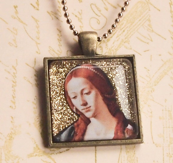 St. Mary Magdalen glass pendant in bronze setting for Confirmation, First Communion