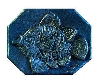 Blue Fish Tropical Wall Art, Beach Art, Bathroom Decor, Tropical Fish Sculpture Wall Plaque