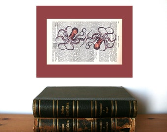 Two Octopuses Art Print on Antique 1896 Dictionary Book Page