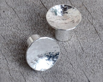 0 Gauge Hammered Dome Moon Surface Sterling Silver Plugs- made to order