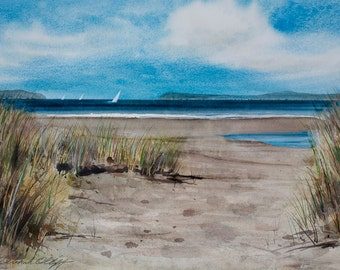Bodega Dunes, Watercolor Print, Seascape, Beach, Northern California, Sailboats, Bay, Blue