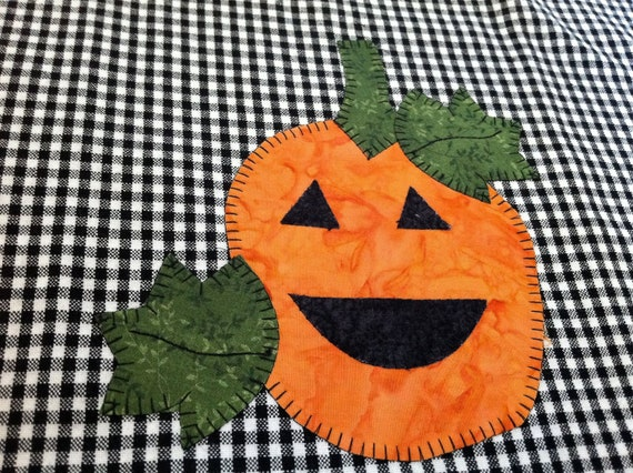 Pumpkin  Halloween applique black white checked dish towel
