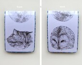 travel card holder - the owl and the pussycat - handmade for oyster card, train tickets, bus pass, ID cards - vinyl wallet