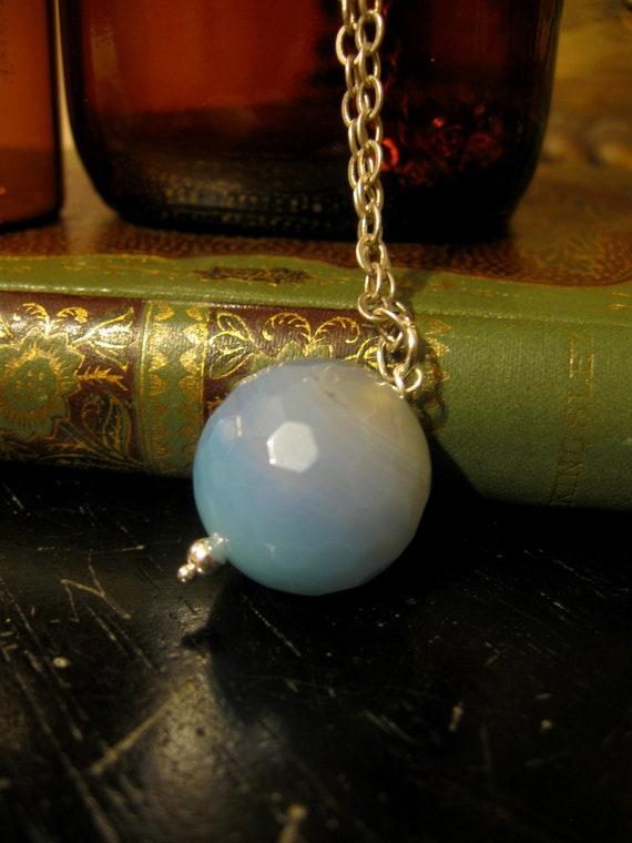 Milky Blue Agate Crystal Ball Pendant - Eden Gallery
