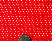 vintage canvass white tiny polka dots on a tomato red background fabric - one yard