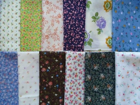 12 Assorted Vintage Cotton Blends Fabric Scraps..Fat Eighths