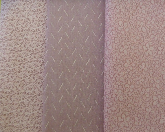 3 Assorted Vintage and Newer Cotton Calico Fabric Scraps..Fat Eighths..Quilting Fabric Scraps...Pinks..Mauves