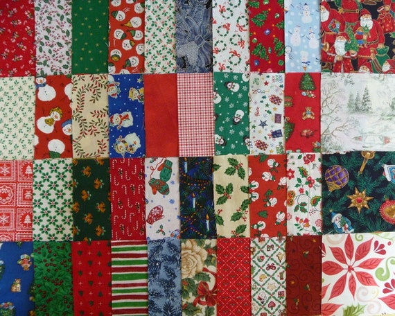 40 Assorted 4 Inch Christmas Cotton Fabric Quilting Squares-Set 5