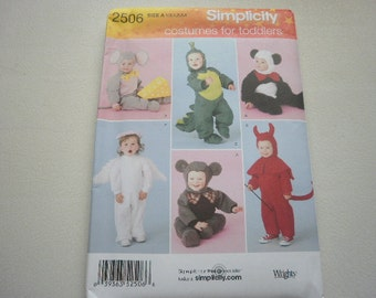 Pattern Toddler Costumes Mouse Angel Panda Sz 1/2 to 4 Simplicity 2506