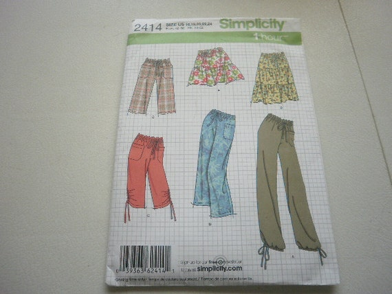 Pattern Women Pants Shorts and Skirts Sz 16 to 24 Simplicity 2414 A