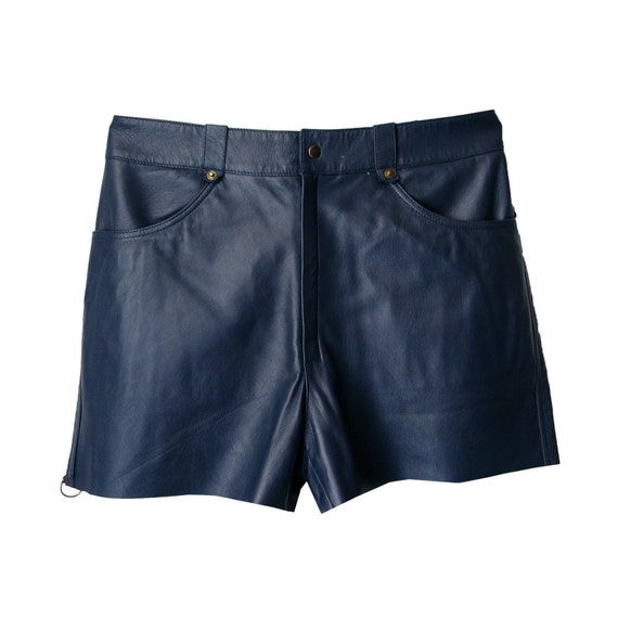 Navy soft leather shorts - Man clothing - Navy blue - Size 52
