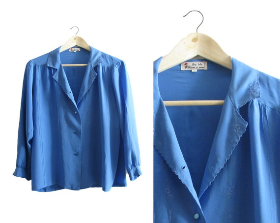 SALE - Blue Embroidered Silk Blouse - 1970