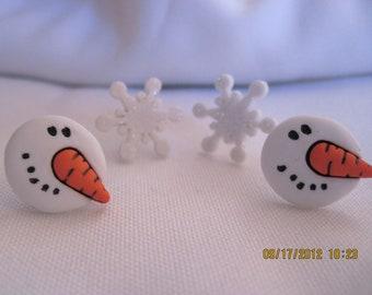 Snowman and Snowflakes Stud Earrings
