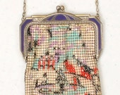 1920's Mesh Purse  by Whiting and Davis Purple Enamel Frame