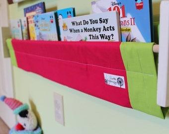 Design your Own solid custom book sling book storage shelf nursery decor pink green, raspberry, watermelon, lime