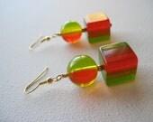 Cherry Lime Jello Earrings - 1940s vintage lucite bakelite beaded dangle earrings LAST PAIR