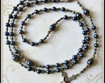 Boys Custom Blue Baptism Rosary in Bronze Swarovski Pearl, Catholic Baptism/Christening Gift